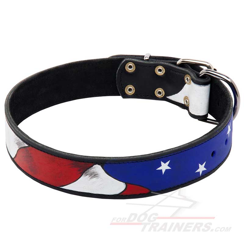 American Pride Handpainted Leather Dog Collar - Click Image to Close