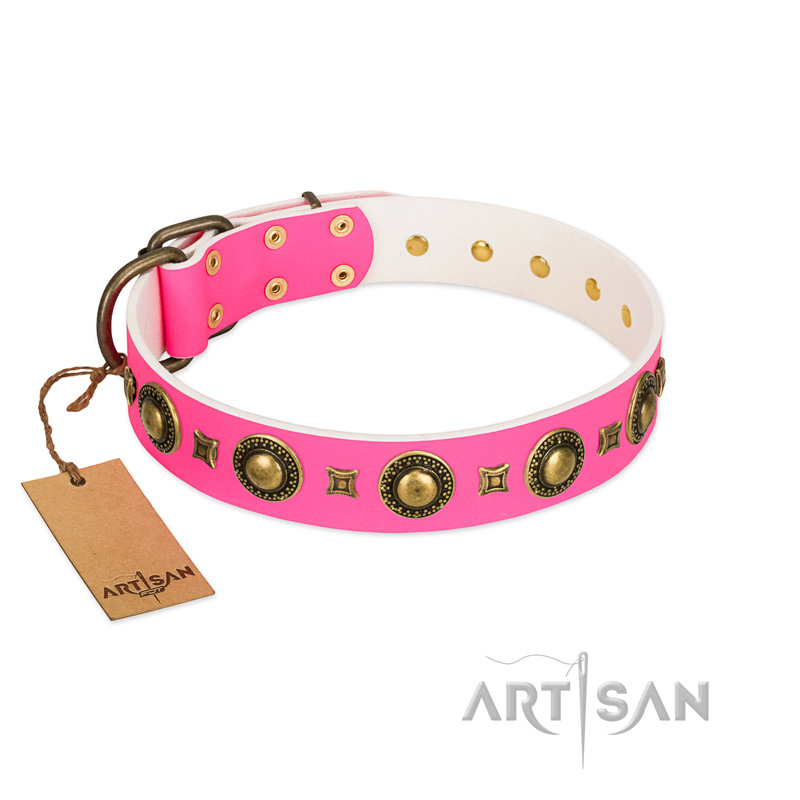 """Pink Sweetie"" FDT Artisan Wonderful Pink Leather Dog Collar with Brass Decorations"