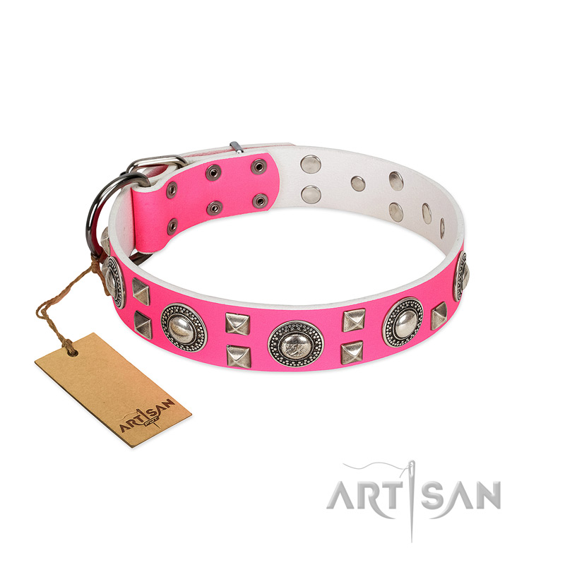 """Pink Princess"" FDT Artisan Beautiful Pink Leather Dog Collar with Old Silver-Like Decorations"