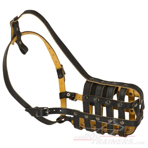 Everyday Light Super Ventilation Leather Basket Muzzle - Click Image to Close