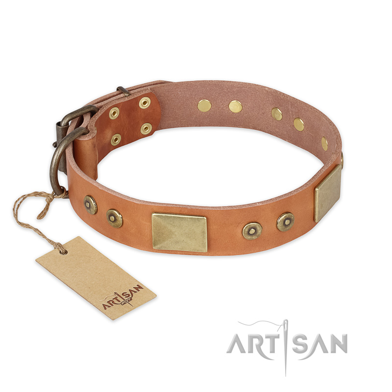 """The Middle Ages"" FDT Artisan Handcrafted Tan Leather Dog Collar - Click Image to Close"