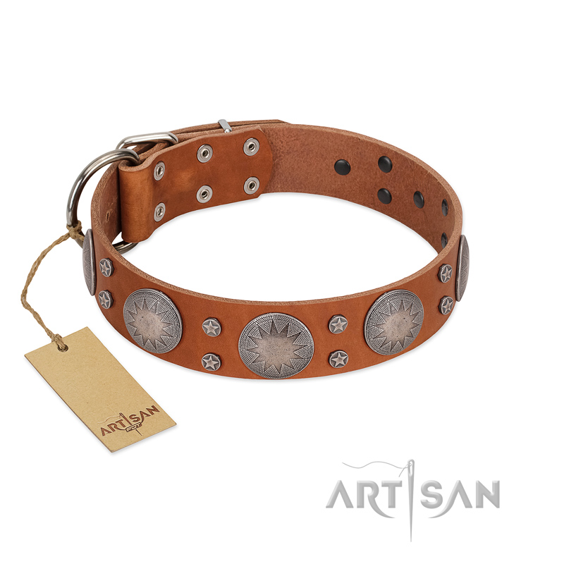 """Far Star"" FDT Artisan Tan Leather Dog Collar with Engraved Studs - Click Image to Close"