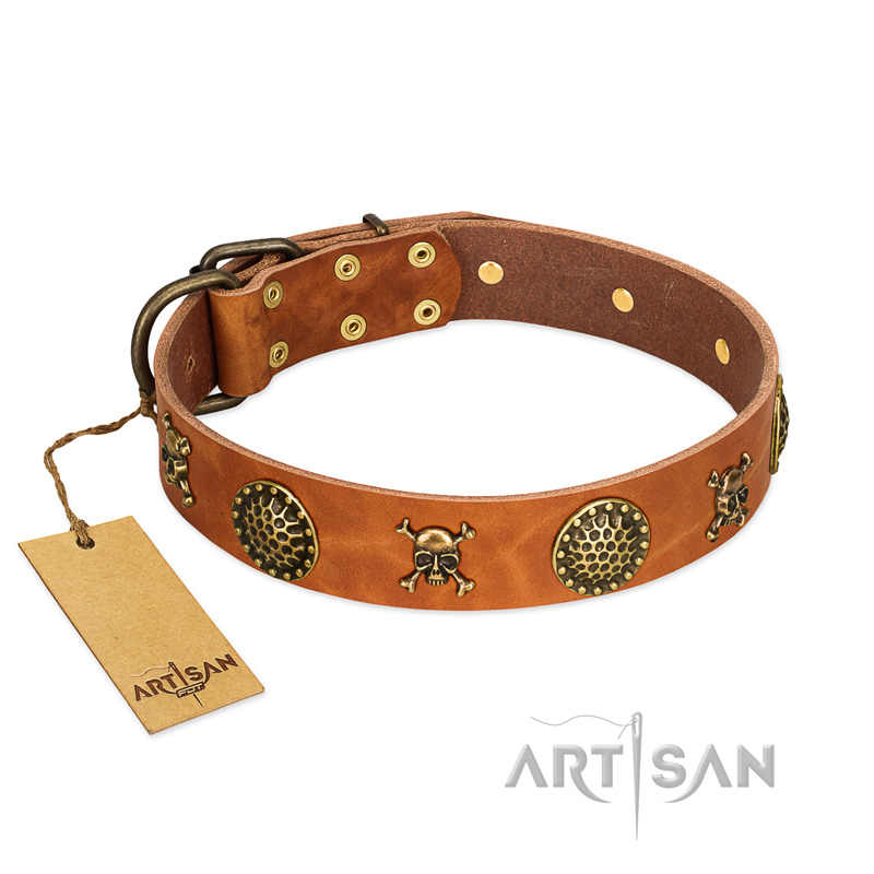 """Mysterious Beauty"" FDT Artisan Tan Leather Dog Collar with Brass Decorations"