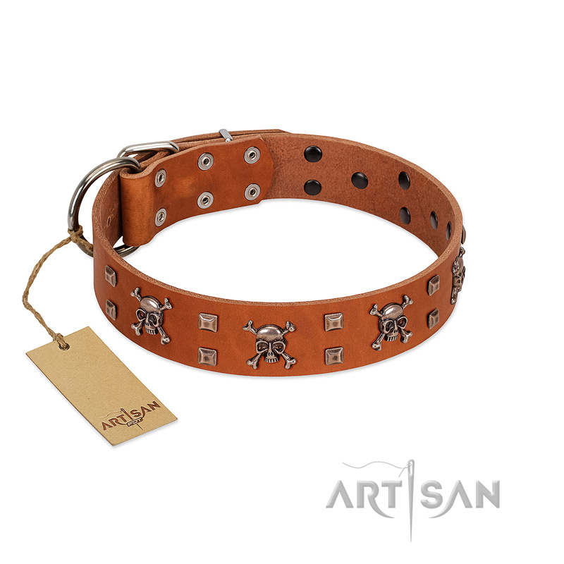 """Rebellious Nature"" FDT Artisan Tan Leather Dog Collar Embellished with Crossbones and Square Studs - Click Image to Close"