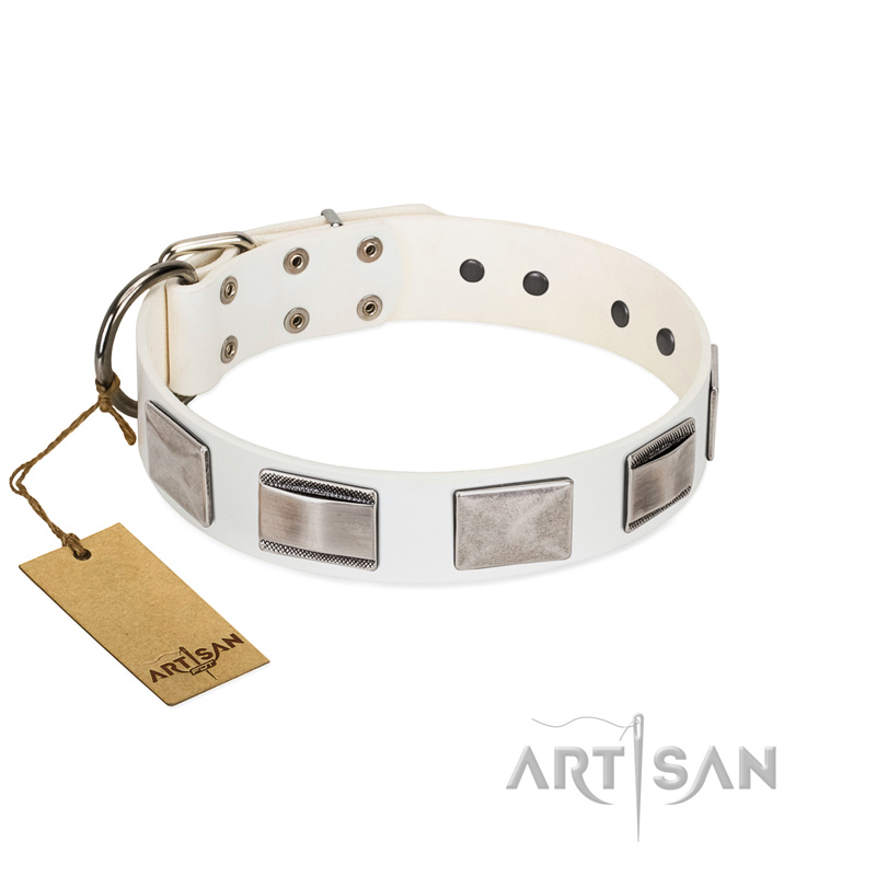 """Snow White"" FDT Artisan Beautiful Natural Leather Dog Collar with Nickel Decorations"
