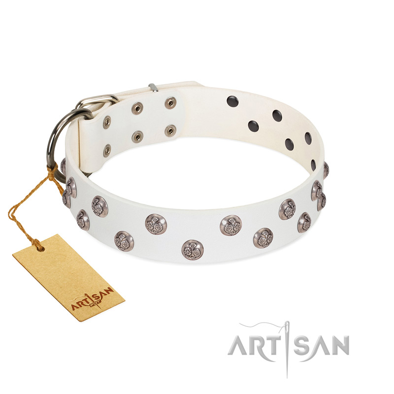 """Wild Flora"" FDT Artisan White Leather Dog Collar with Silver-like Engraved Studs - Click Image to Close"