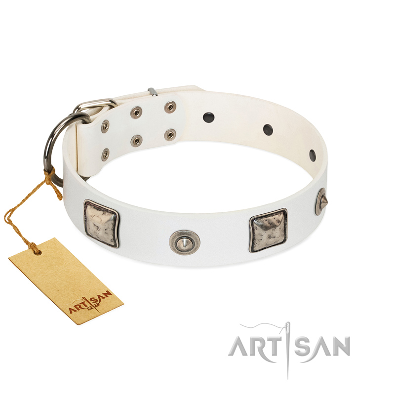 """Amazing Beauty"" FDT Artisan Fancy White Leather Dog Collar with Silver-Like Decorations"