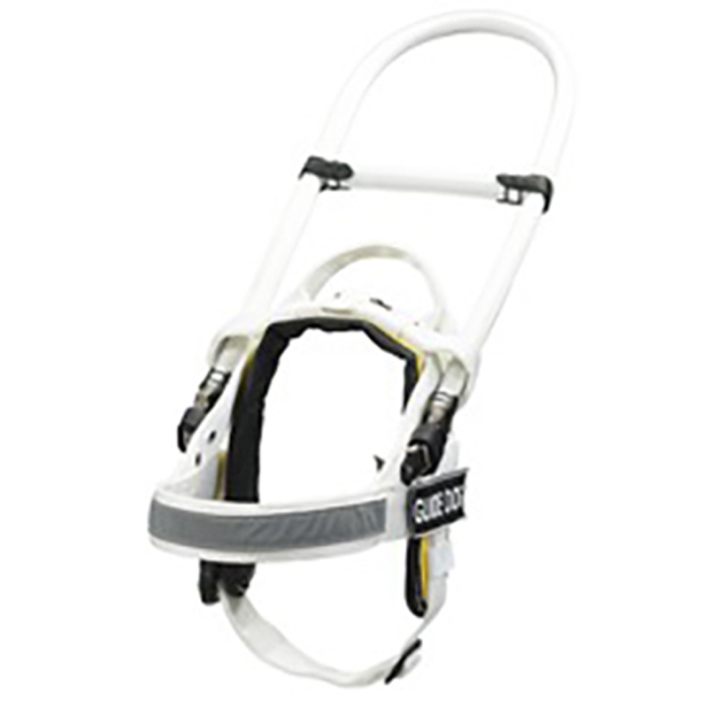 White Nylon Dog Harness with Reflective Tape and Removable Patches - Click Image to Close