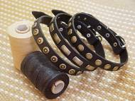 25S3BL - Set of 3 Gorgeous Wide Black Leather Dog Collars - Fashion Exclusive Design