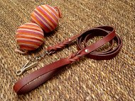 Handcrafted leather dog leash with quick release snap hook - L3HS-(13mm)