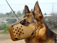 Leather Cage Muzzle for Large German Shepherd Dogs