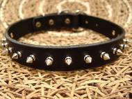 Black Leather Spiked Dog Collar - s33