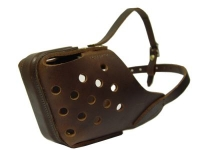 Leather Dog Training Basket  Muzzle with Padded Nose