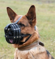 Lightweight and Soft Leather Mesh German Shepherd Dog Muzzle