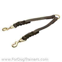 Braided leather coupler for walking 2 dogs - LN102