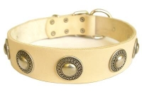 Exclusive White Leather Dog Collar with Silvery Circles