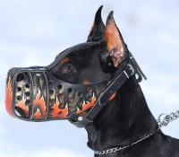 "Hand painted by our artists leather Muzzle ""Dondi"" Plus - FLAMES - product code  m77FLAMES"