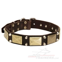 Vintage War-Like Leather Dog Collar with Brass Massive Plates +2 Nickel Pyramids