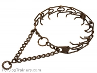 Large Pinch Dog Collar - 1/6 inch (3.90 mm) - Antique Copper Plated Steel Prong Collar