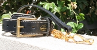 Exclusive Set  Royal Nappa Padded Hand Made Leather Dog Collar+Exclusive HS Gold plated leash - code  C443+L101HS