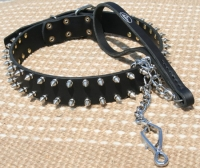 Exclusive Set  of Spiked Leather Dog Collar + Exclusive HS Nickel Plated Leash