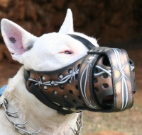 "Hand painted by our artists leather Muzzle ""Dondi"" Plus-BULL TERRIER - Barbed Wire - product code  m77BARBED WIRE"