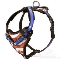 Cool Handpainted American Flag Leather Dog Harness for Agitation/Protection/Attack Training