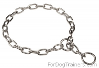 Fur Saver Choke Chain Collar of Chrome Plated Steel