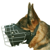 German Shepherd Working Dog Muzzle with Wire Cage