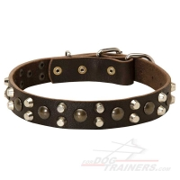 Wide  Leather Dog Collar with 3 Rows of Pyramids and Studs