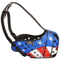 "Exclusive Design ""American Flag"" Hand Painted Leather Dog Muzzle"