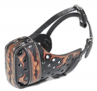 Exclusive Handpainted Leather Dog Muzzle  'Fire Flames'
