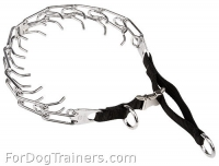 Chrome-plated Dog Pinch Collar with Nylon Loop and Quick Release Buckle  (1/8 inch) (3.25mm)