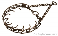 Dog Pinch Training Collar - 3.0 mm (1/9 inch) Steel - Antique Copper Plated Prong Collar