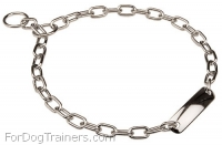 Chrome-plated Steel Fur Saver Dog Collar Width 1/9 inch (3 mm)