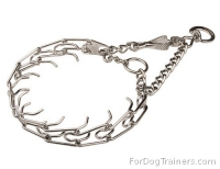 Chrome-plated Dog Prong Collar with Swivel and Small Quick Release Snap Hook  -  2.25mm (1/11 inch)