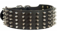 Extra Wide Leather Dog Collar with Spikes for Walking in Style