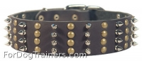 Extra Wide Leather Studded Dog Collar with 4 Columns of Spikes and Half Balls