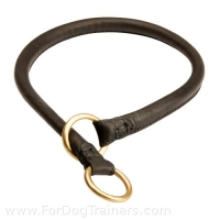 Silent Training Round Leather Choke Collar