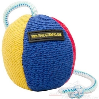 French linen Training Dog Toy on string - 4 1/3 inch (11 cm) in diameter