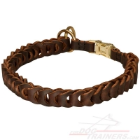 Braided Leather Choke Dog Collar with Quick Release Buckle for Training and Behavior Correction