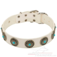 Exclusive White Leather Dog Collar with blue stones