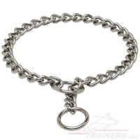 Strong Chrome Plated Dog Choke Collar 1/9 inch (3 mm)