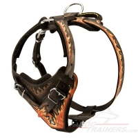 Flames Painted Training Amstaff Harness with Adjustable Straps