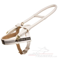 'Easy Walking' Snow-White Guide Assistance Leather Dog Harness