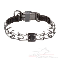 Dog Pinch Collar of Black Stainless Steel with Click Lock Buckle - 1/11 inch (2.25 mm) link diameter