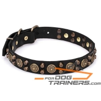 'Bronzed Sun' Extra Strong Leather Dog Collar with Rustproof Hardware 1 1/5 inch (30 mm) Wide