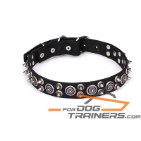 'Hollywood Chic' Decorated Leather Dog Collar with Circles and Spikes