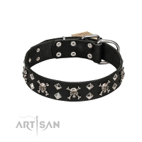 FDT Artisan Fancy Rock 'n' Roll Style Black Leather Dog Collar with Skulls, Bones and Studs 1 1/2 inch (40 mm) wide