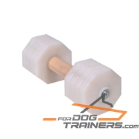 'Route to Success' White Training Dog Dumbbell of Wood and Plastic 2000 g (2 kg)